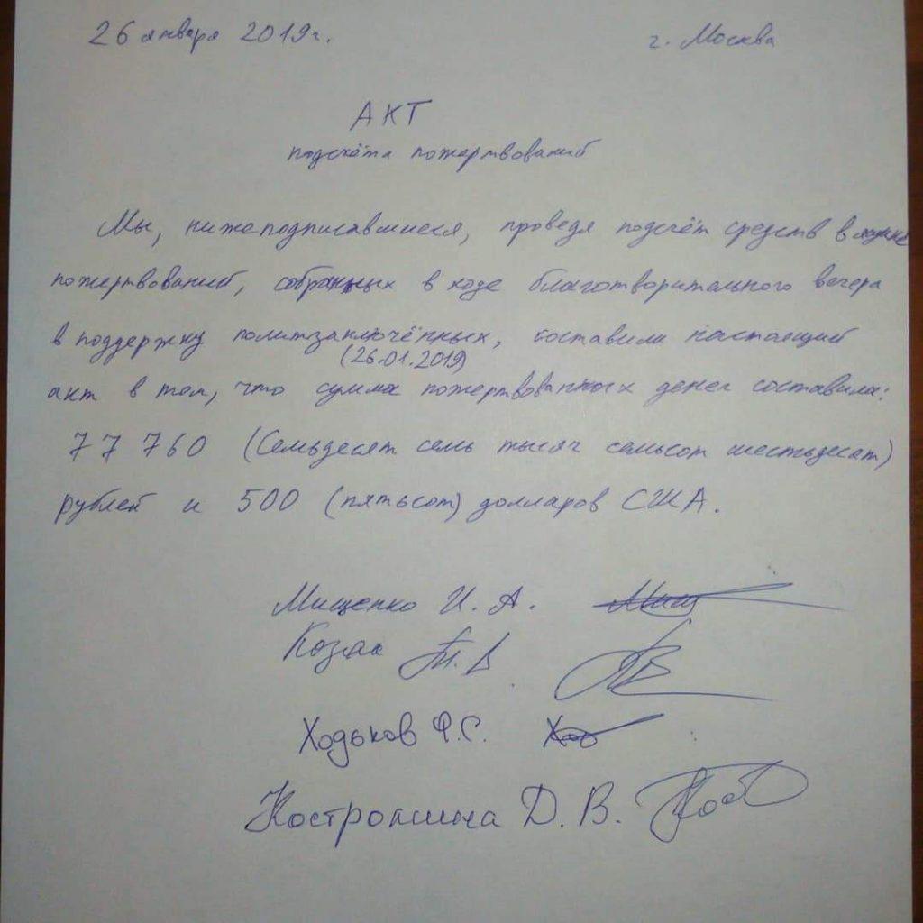 Лист бумаги с текстом: «26 января 2019 г. г. Москва. Акт подсчёт пожертвований. Мы, нижеподписавшиеся, проведя подсчёт средств в ящике пожертвований, собранных в ходе благотворительного вечера в поддержку политзаключенных (26.01.2019), составили настоящий акт в том, что сумма пожертвованных денег составила: 77760 (семьдесят семь тысяч семьсот шестьдесят) рублей и 500 (пятьсот) долларов США.»  Подписи: Мищенко И.А., Козак Т.В., Ходьков Ф.С., Костромина Д.В.